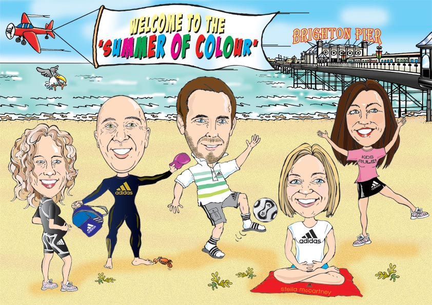 Brighton postcard cartoon caricature for Adidas marketing team. Plane flying past with banner