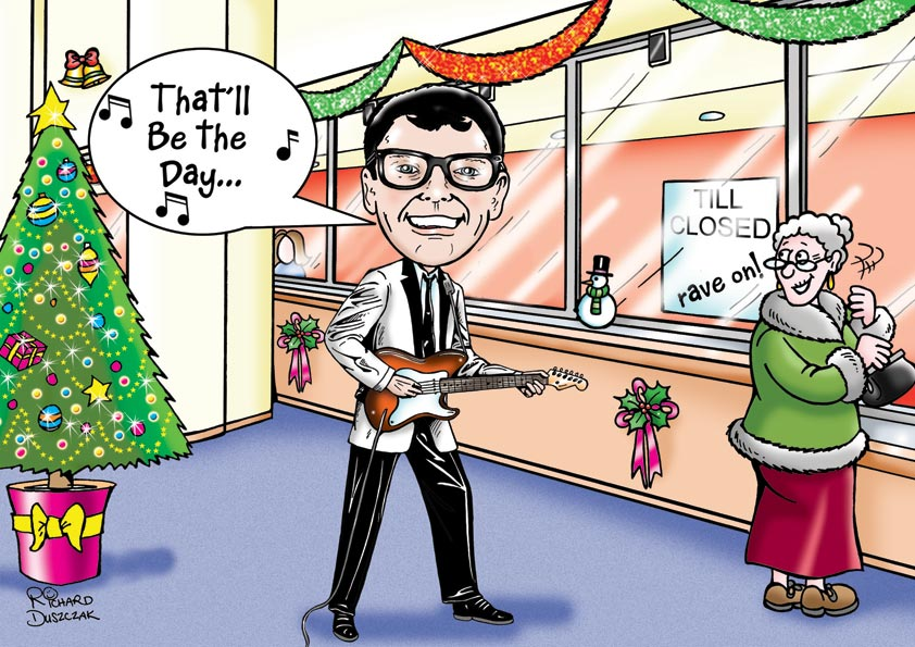Buddy Holly cartoon caricature who worked in a bank