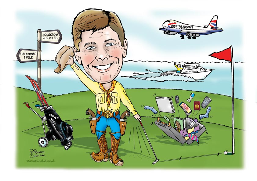 caricature of a cowboy golfer - this was a multi-hobby caricature that included his golfing hobby, skiing, boating and travelling with his work. Suitcase bursting open with all sorts flying out