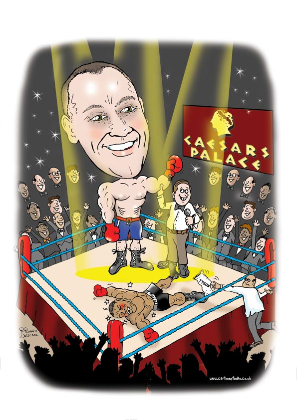 boxing caricature, guy in a boxing ring with his hand held high as he's won. He dreamed of winning against Mike Tyson at Caesar's Palace. Tyson's second is throwing in the towel