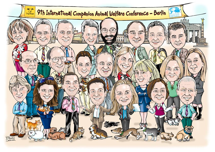 multi person caricature for Dogs Trust annual conference