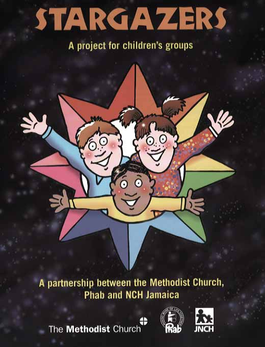cartoon for Stargazers book cover. Arrangement of multicultural kids