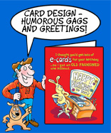 Cartoon Studio character Rod in his red top,blue trousers and brown shoes and his beige dog scraggy tell how Cartoon Studio do Card Design services from greetings cards to business cards and humurous gags