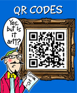 This plate shows an art lover sporting glasses and a handle bar moustache and goatee beard waring a blue/green shirt pink jacket and yellow tie looking at a framed picture of a QR code saying in the caption YES BUT IS IT ART?