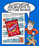 Rod and scraggy appear telling readers thta Cartoon Studio provide illustration for books and all manner of things and the image features the iconic BUTTERKIST packet cartoon Richard provided some years ago